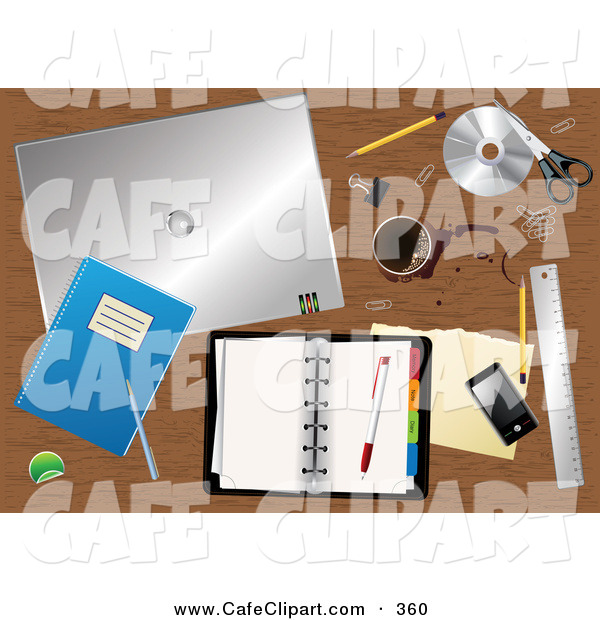 Vector Clip Art Of A Cluttered Wood Desk Top With Spilled Coffee A