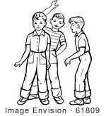 61809 Clipart Of Retro Boys Talking And Waving In Black And White