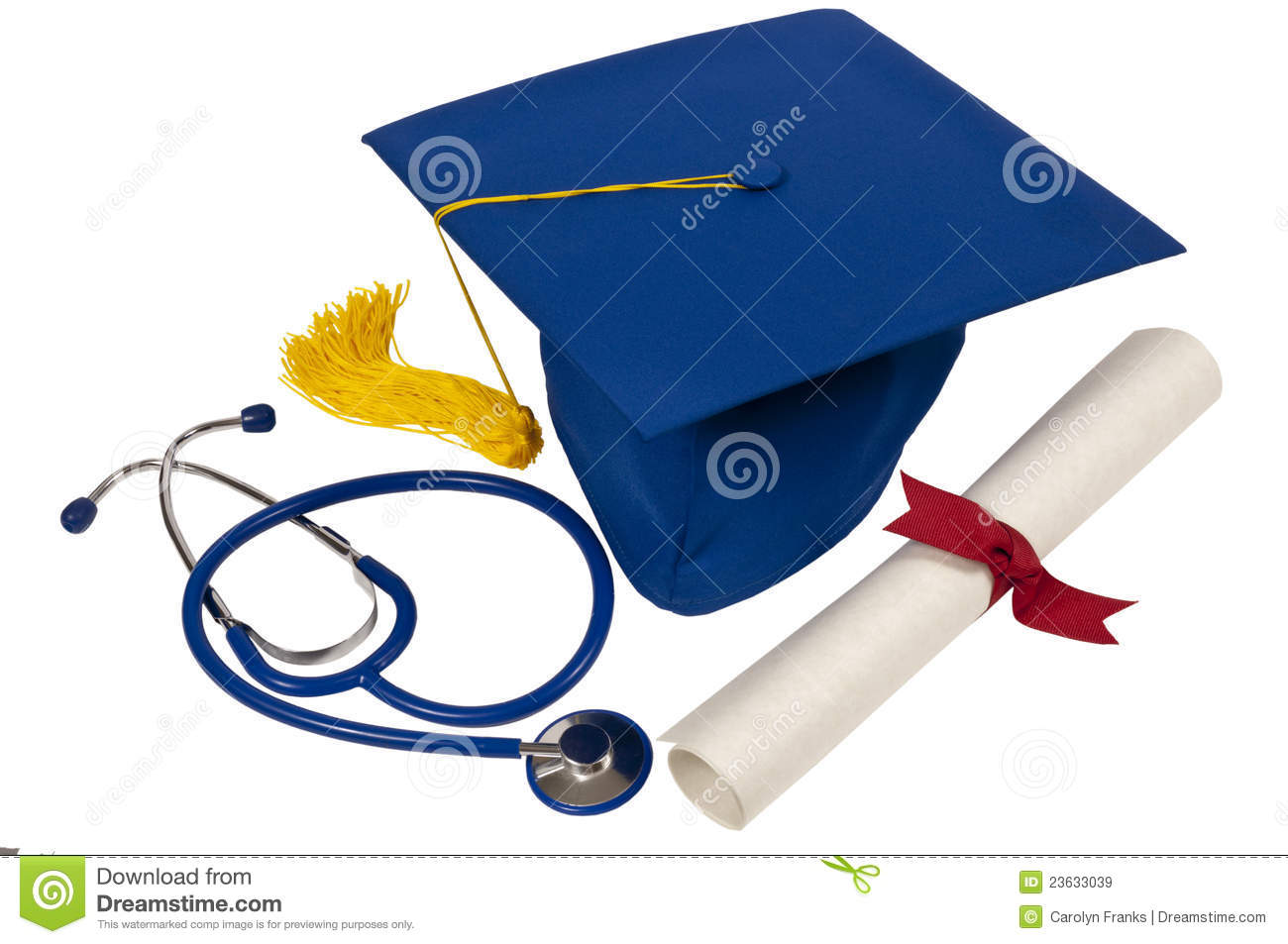 Blue Graduation Hat With Yellow Tassel Diploma With Red Ribbon And A