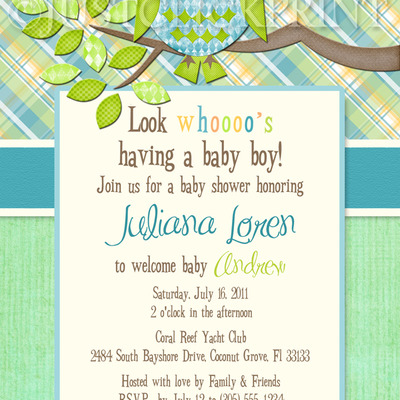 Boys Plaid Owl Look Whooos Having A Baby Shower Invitation Printable