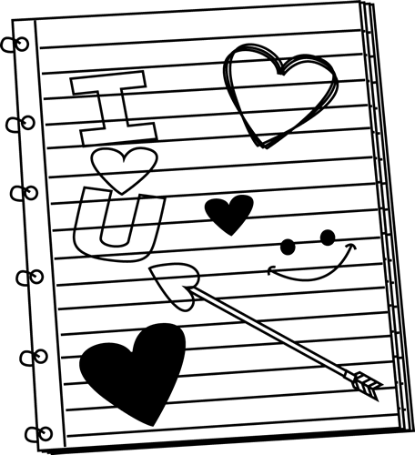 Clipart Black And White Valentines Day Notebook Scribbles Black White
