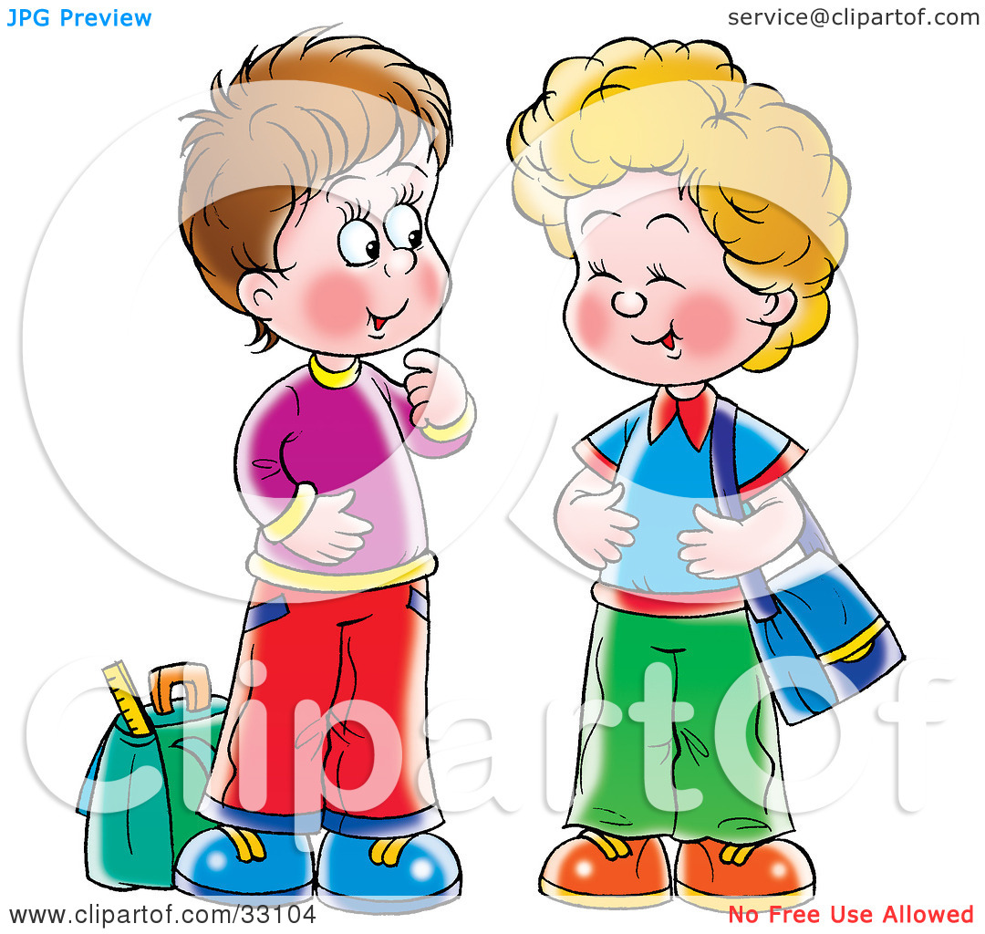 Clipart Illustration Of Two Little Boys Laughing And Talking At A Bus