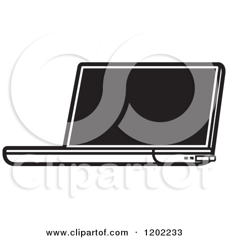 Clipart Of A Black And White Laptop Computer Icon   Royalty Free