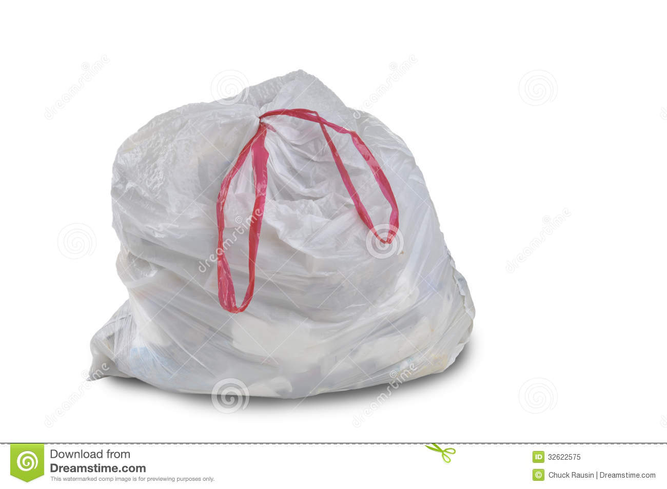 Close Up Of A White Garbage Trash Bag On A White Background