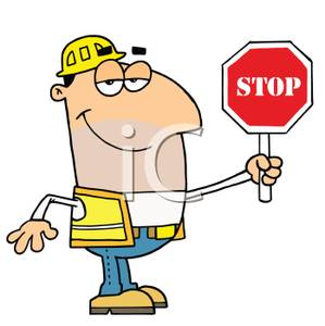 Construction Worker Holding A Stop Sign   Royalty Free Clipart Picture