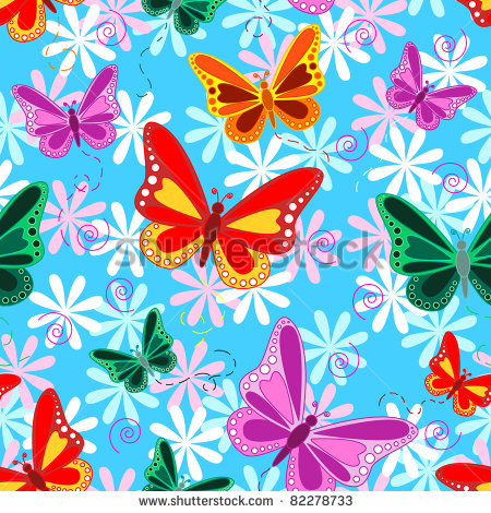 Flying Butterflies With Pastel Color Flowers Over Sky Blue Background