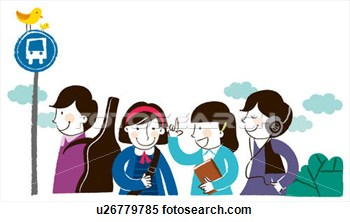 Group Of People Standing At Bus Stop Queue U26779785   Search Clipart