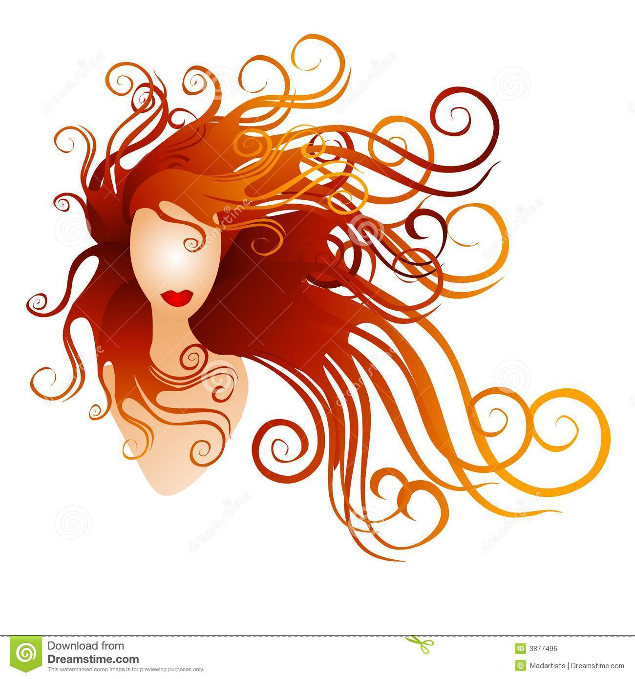 Illustration Of A Woman With Long Red Flowing Hair Isolated On White