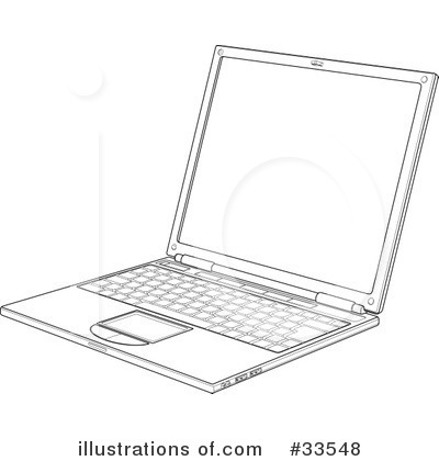 Laptop Black And White Clipart Royalty Free  Rf  Laptop
