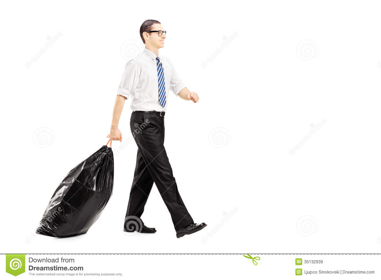 Male Carrying A Garbage Bag And Walking Isolated On White Background