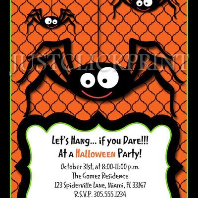 Spooky Spiders Halloween Party Invitation Printable   Thumbnail 3