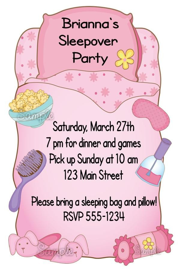 Birthday Party Invites For Girls  Girls Sleepover Birthday Party