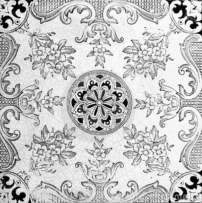 Black And White Style Design From A Genuine Victorian Tile Circa 1885