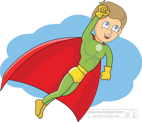 Cartoons   Super Power Boy 214   Classroom Clipart