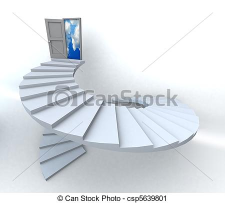 Clipart Of 3d Success Business Spiral Staircase   Staircase With Open
