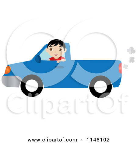Clipart Of A Boy Driving A Blue Pickup Truck Royalty Free Cgi Clipart