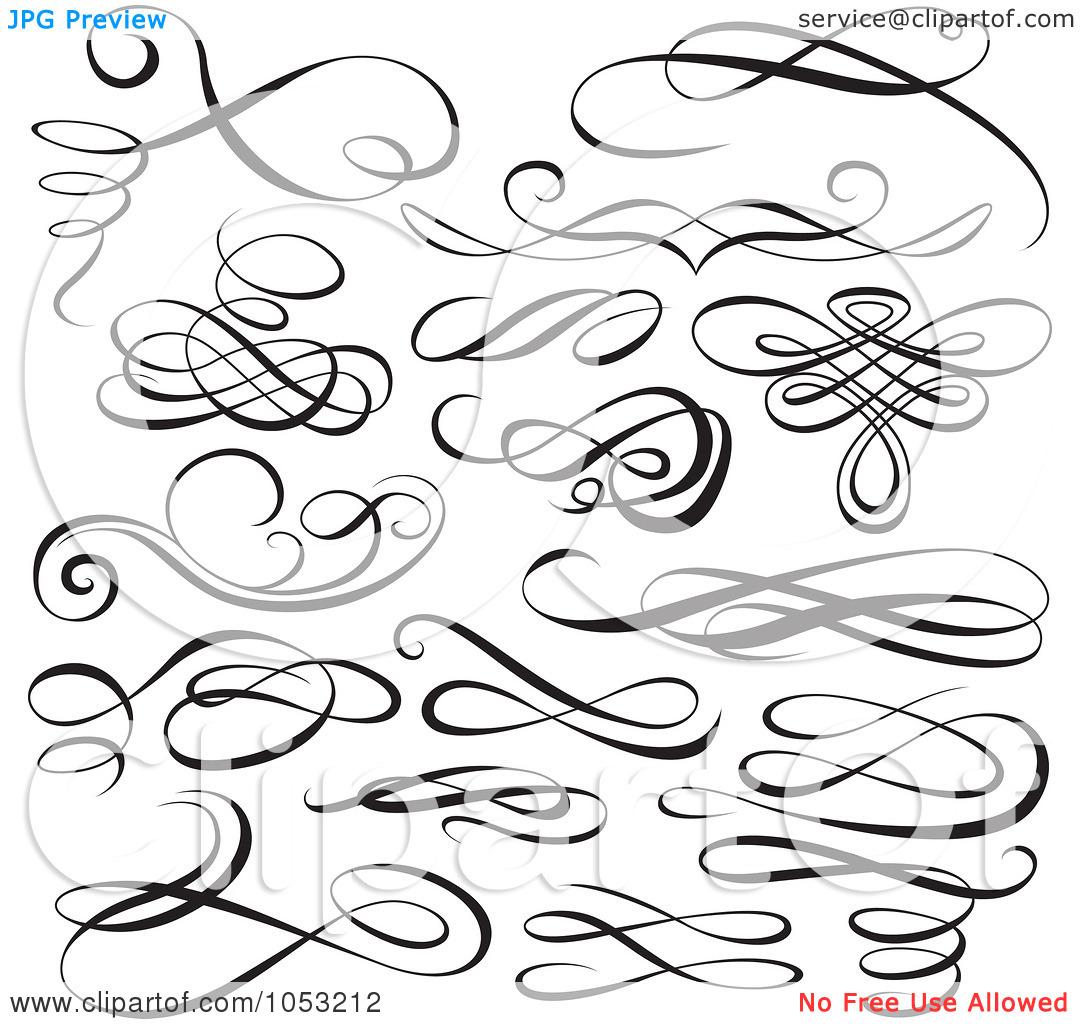 Calligraphy swirls clipart kid