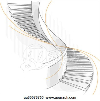 Eps Vector   Sketch Of A Spiral Staircase  Stock Clipart Illustration