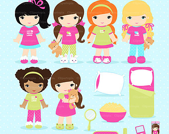 Girls Sleepover Clipart Sleepover   Etsy