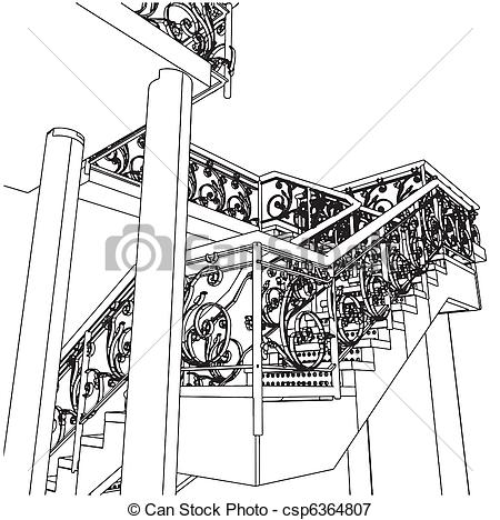 Illustration Of Spiral Staircase Vector Csp6364807   Search Clipart