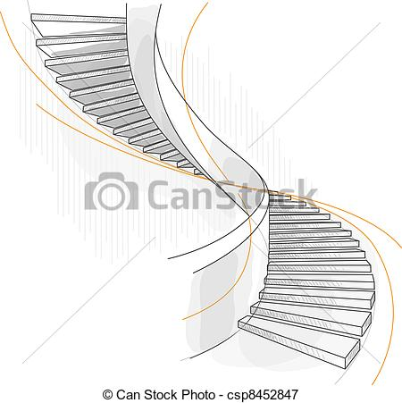 Of A Spiral Staircase Vector Illustration Csp8452847   Search Clipart
