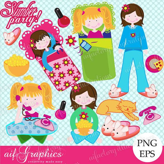 Party Cute Pink Girls Sleepover Clipart Digital Png Clipart F