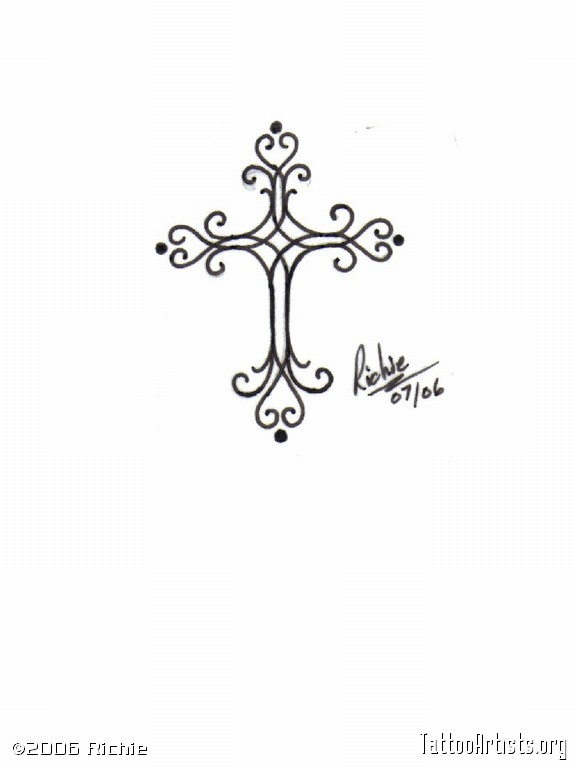 Scroll Work Cross   Tattoo Artists Org