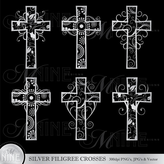 Silver Filigree Crosses Clipart Cross Clip Art Vector Art File