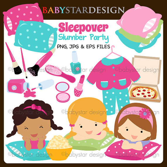 Sleepover Slumber Party Clipart Instant Download