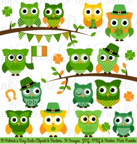 St Patrick S Day Owl Clipart And   Owls   Pinterest