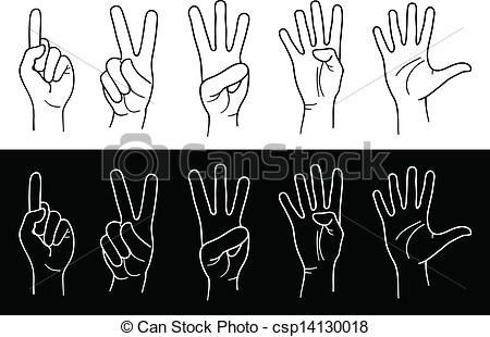Vector Clip Art Of Hands And Fingers   Counting Hands From One To Five