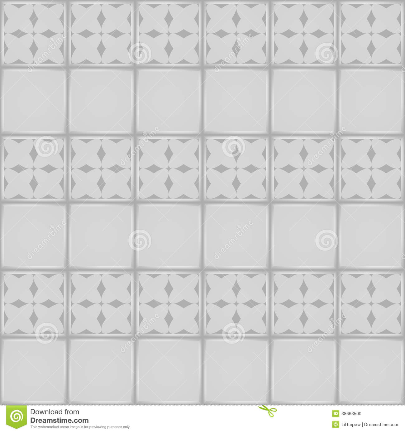 White Ceramic Tile With Ornament Seamless Pattern Stock Photo   Image