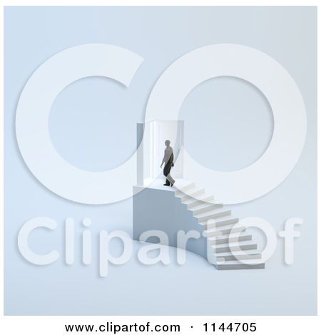 3d Tiny Man Walking Through A Door At The Top Of Stairs