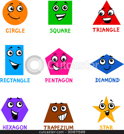 Basic Geometric Shapes With Cartoon Faces Stock Vector Clipart