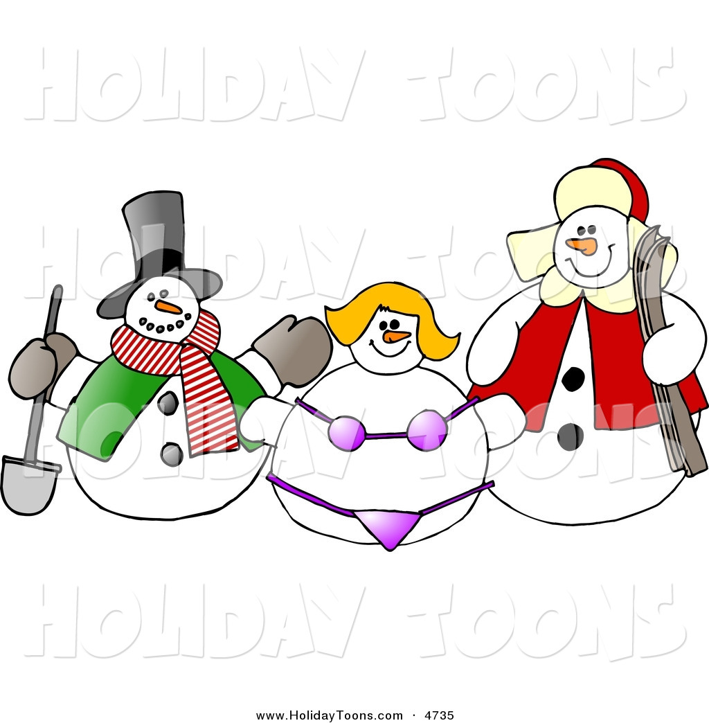 Bikini And Another Snow Man Holiday Clip Art Dennis Cox