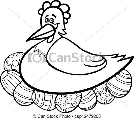 Black And White Cartoon Illustration Of Funny Farm Hen Hatching Easter