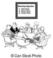 Chit Chat Agenda   Cartoon Of Businesspeople With Agenda To