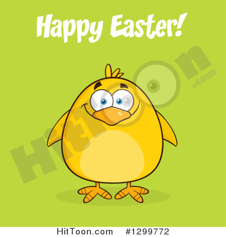 Clipart Of A Cartoon Yellow Chick And Happy Easter Greeting On Green