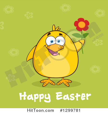 Clipart Of A Cartoon Yellow Chick Holding A Flower Over Green With