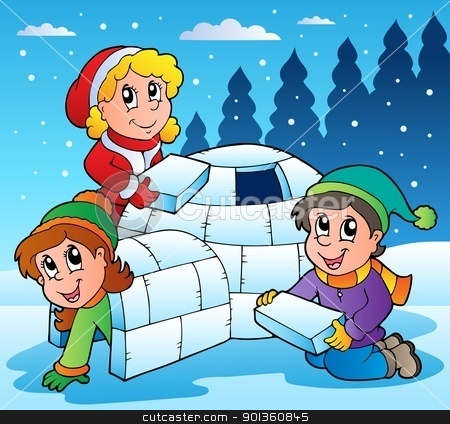 Clipart Winter Scene With Kids 1 Vector Illustration By Vector Clipart