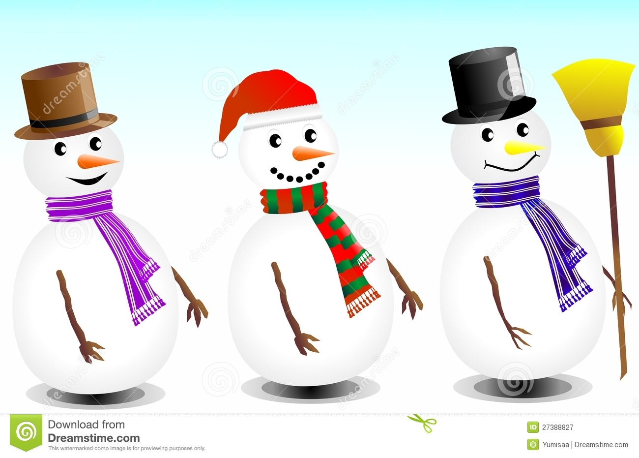 Cute Snowmen In Three Different Variations For Christmas Essentials