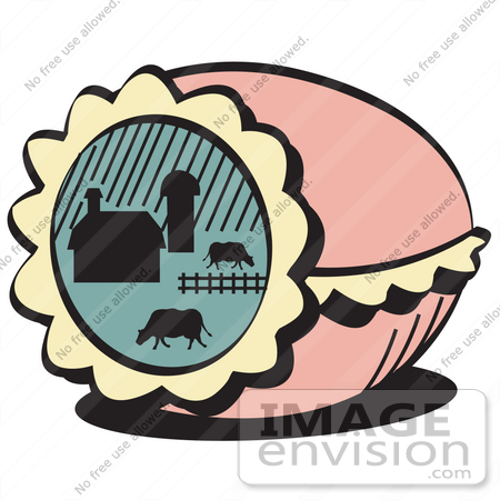 Free Cartoon Clip Art Of A Pink Decorated Easter Egg With A Farm