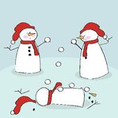 Snowmen Fighting   Stock Illustration
