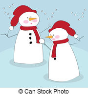 Snowmen   Vector Illustration Of Snowmen In The Snow