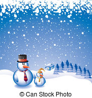 Two Snowmen   Vector Design With Two Snowmen