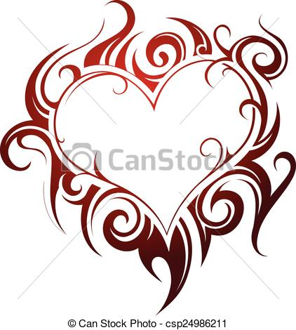 Vector Clip Art Of Heart Shape Tattoo With Fire Swirls Csp24986211