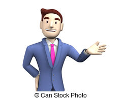 Waist Up Of Young Businessman 3d Render Illustration