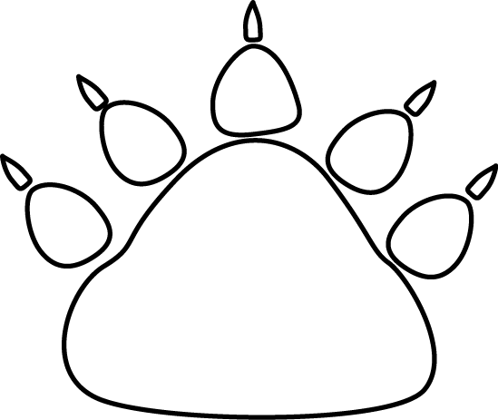 White Bear Paw Print Clip Art   Black And White Bear Paw Print Image