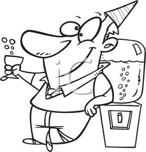 Black And White Cartoon Of A Man At A Party Drinking Bubbly From The