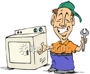 Cartoon Of An Appliance Repairman   Royalty Free Clipart Picture